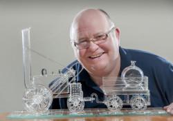 Tony Mercer with glass steam train